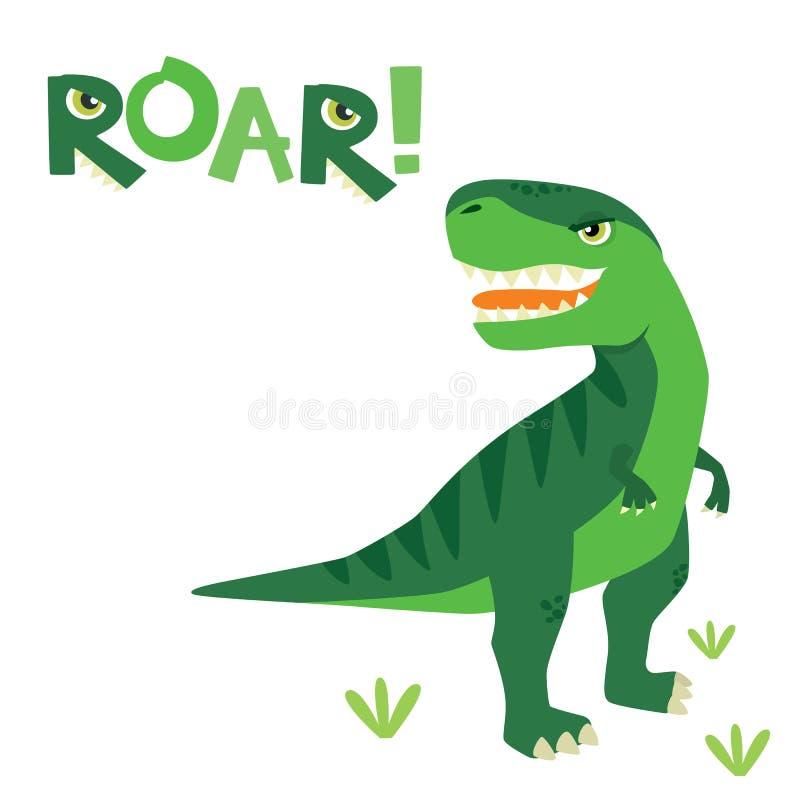 Gullig liten läskig T Rex Dinosaur med Roar Lettering Isolated på den vita vektorillustrationen stock illustrationer