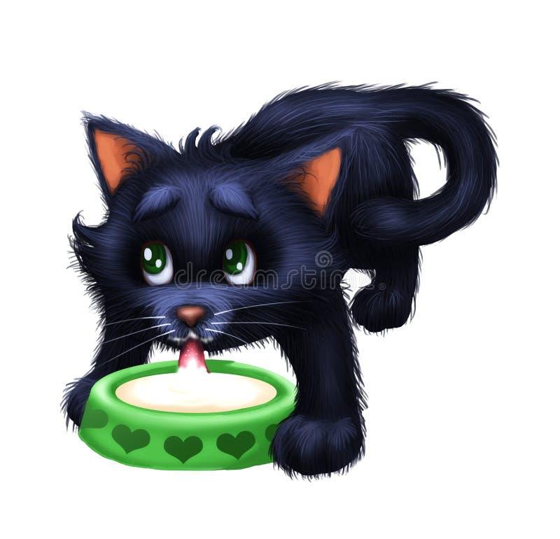 Gullig liten päls- kattunge - för teckenmaskot för tecknad film djurt mjölkar dricka från en bunke royaltyfri illustrationer