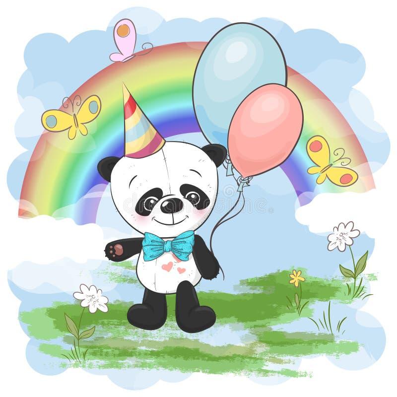 Gullig liten panda för illustrationvykort med ballonger på en bakgrund av regnbågen och moln Tryck p? kl?der- och f?r barn s rum royaltyfri illustrationer