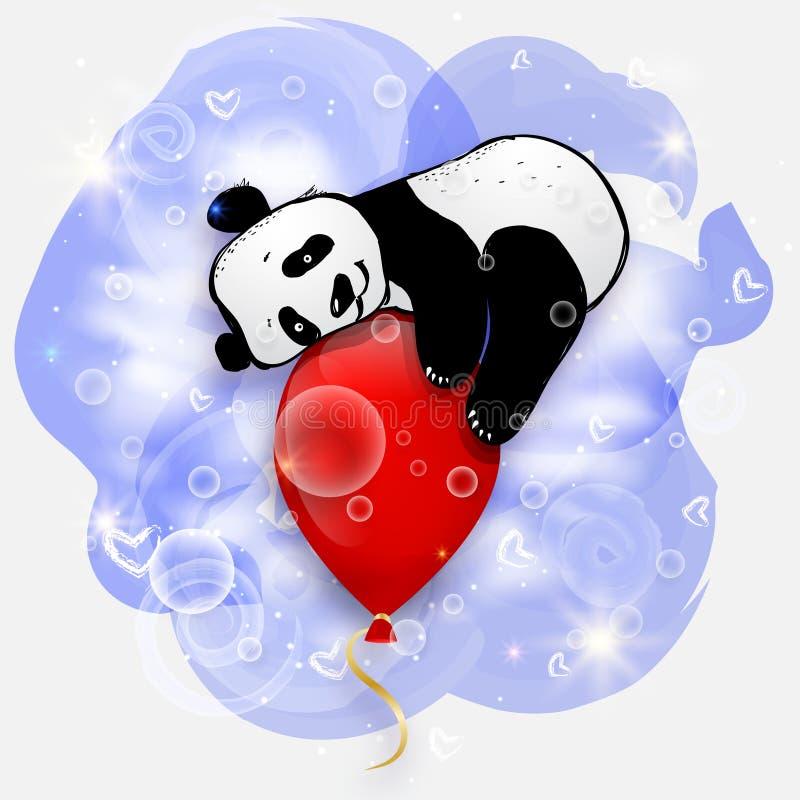 Gullig liten panda på den röda luftballongen, illustration för födelsedagkort vektor illustrationer
