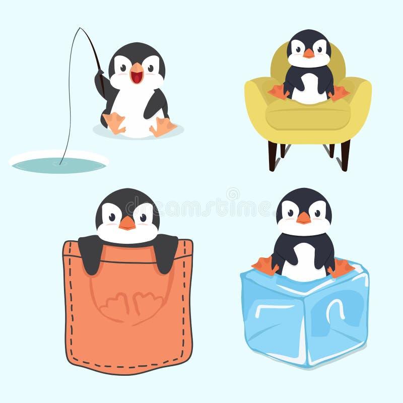 Gullig liten pingvinuppsättning royaltyfri illustrationer