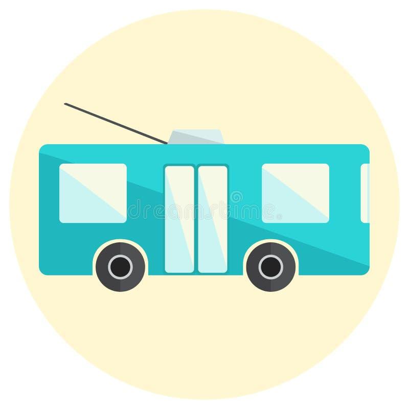Gullig liten plan symbol för spårvagnbuss vektor illustrationer