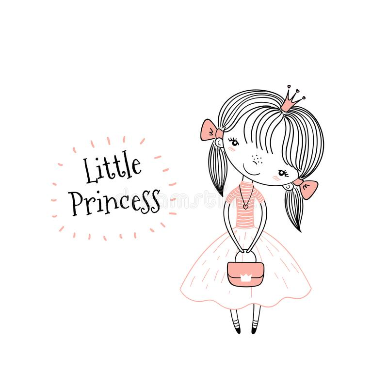 gullig liten princess stock illustrationer