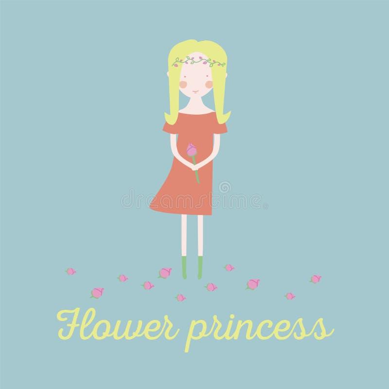 Gullig liten prinsessa Barnsligt vektorkort i härliga blommor royaltyfria bilder