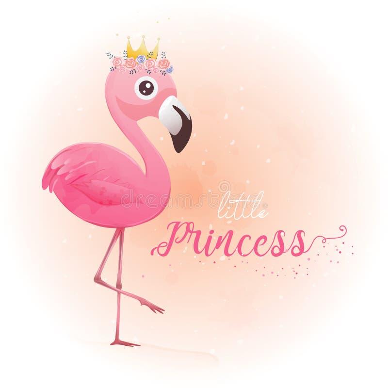 Gullig liten prinsessa Pink Flamingo stock illustrationer