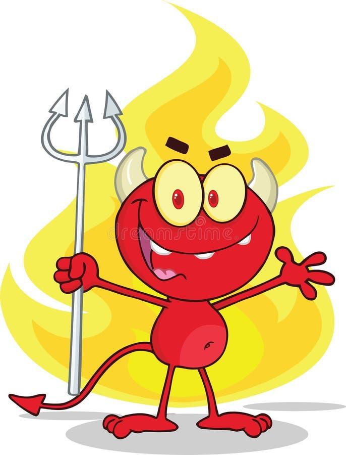 Gullig liten röd jäkel med en högaffel i Front Fire royaltyfri illustrationer