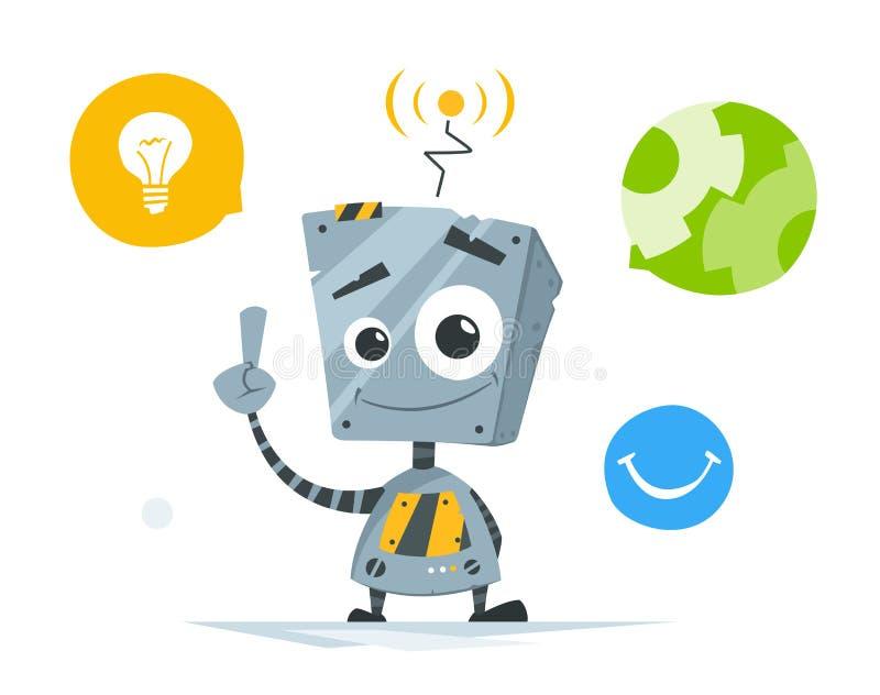gullig liten robot vektor illustrationer