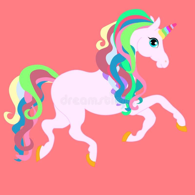 Gullig liten rosa magisk enhörning för rengöringsduk Vektordesign p? vit bakgrund Tryck f?r t-shirt royaltyfri illustrationer