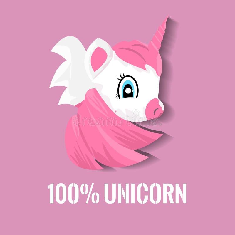 Gullig liten rosa magisk enh?rning Tecknad filmstilenhörning för din t-skjorta design ocks? vektor f?r coreldrawillustration royaltyfri illustrationer