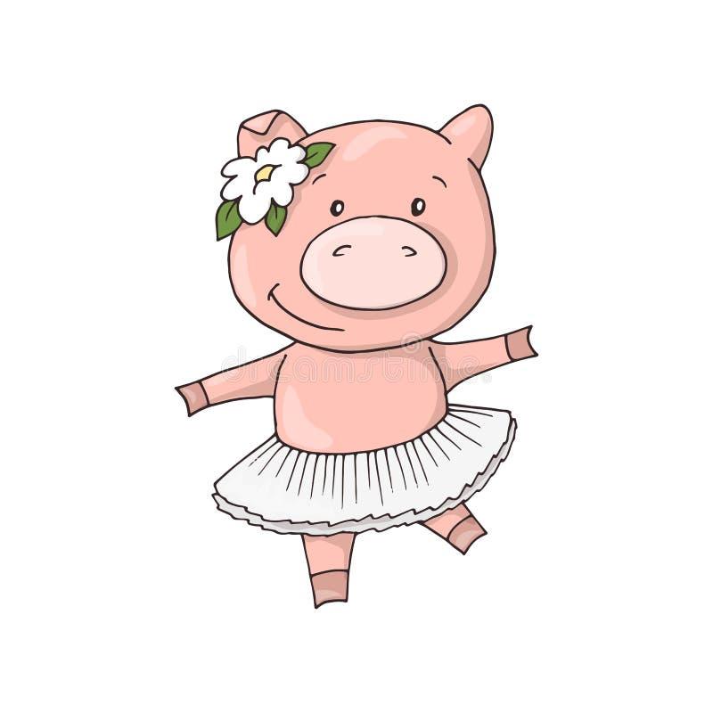 Gullig liten söt charmig piggy tecknad filmdansflicka vektor illustrationer