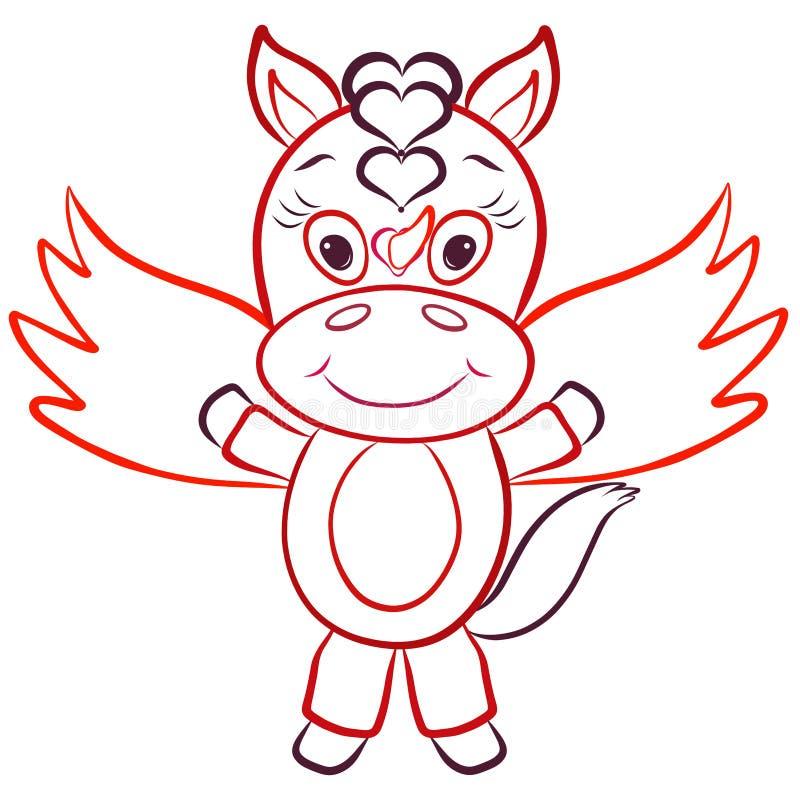 Gullig liten sagaenhörning med vingar och hjärtor vektor illustrationer