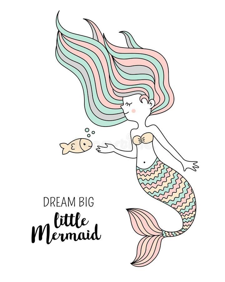 Gullig liten sjöjungfru med fisken Under havsvektorillustrationen Dröm- stor liten sjöjungfru royaltyfri illustrationer