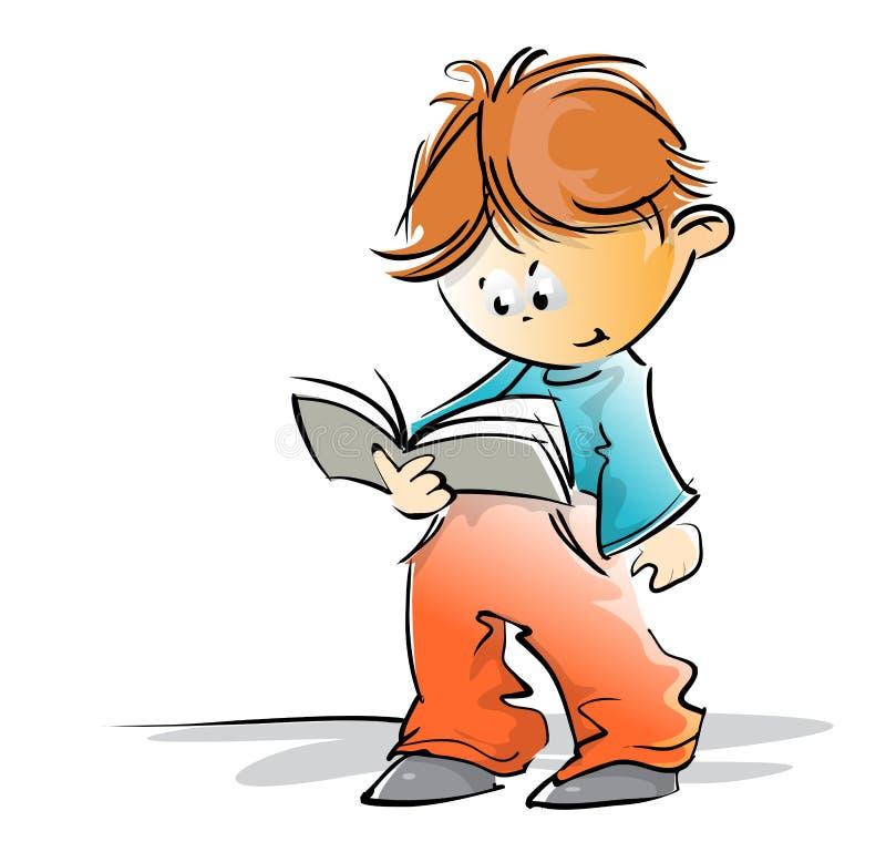 Gullig liten skolapojke som läser en bok arkivbilder