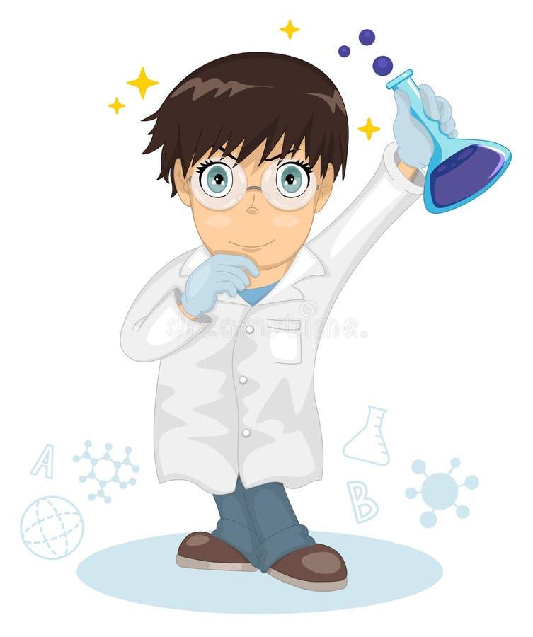 Gullig liten smart pojke Pojkeforskarepysen som rymmer en provr?r, h?ll ett kemiskt experiment huvudet f?r uppnosiga gulliga hund royaltyfri illustrationer
