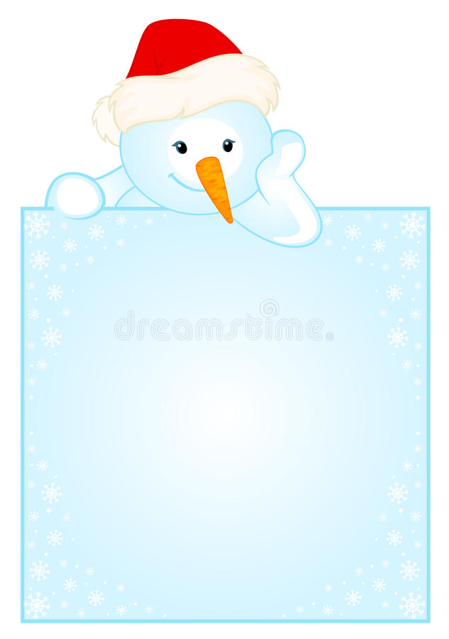 gullig liten snowman för baner stock illustrationer