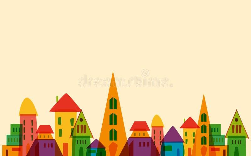 Gullig liten stad royaltyfri illustrationer