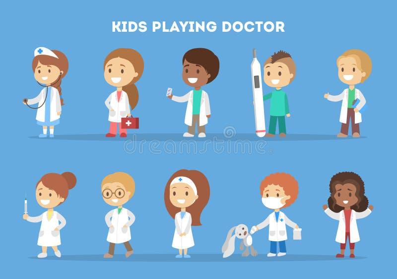 Gullig liten unge i doktorslikformiguppsättning royaltyfri illustrationer