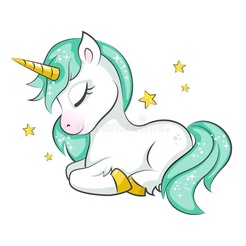 gullig liten unicorn royaltyfri illustrationer