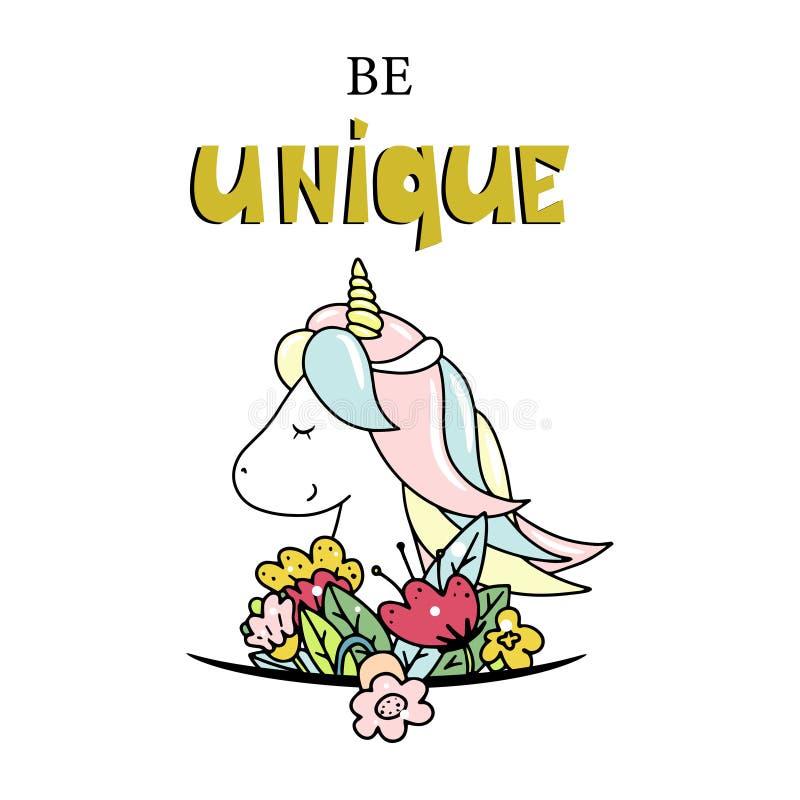 gullig liten unicorn Var unik bokst?ver Hand tecknad vektorillustration royaltyfri illustrationer