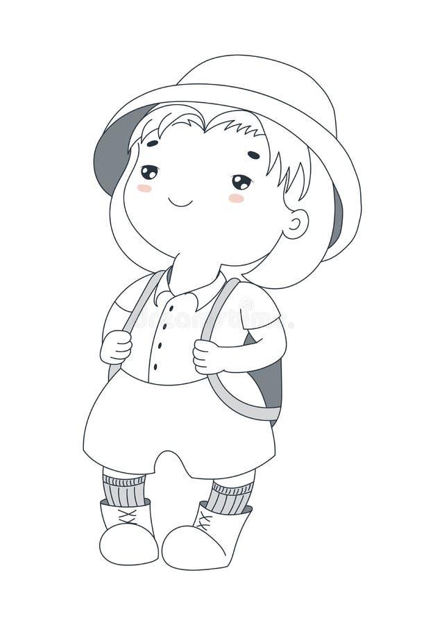 Gullig liten utforskare stock illustrationer