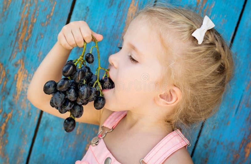 Gullig litet barnflicka som äter druvor royaltyfri foto