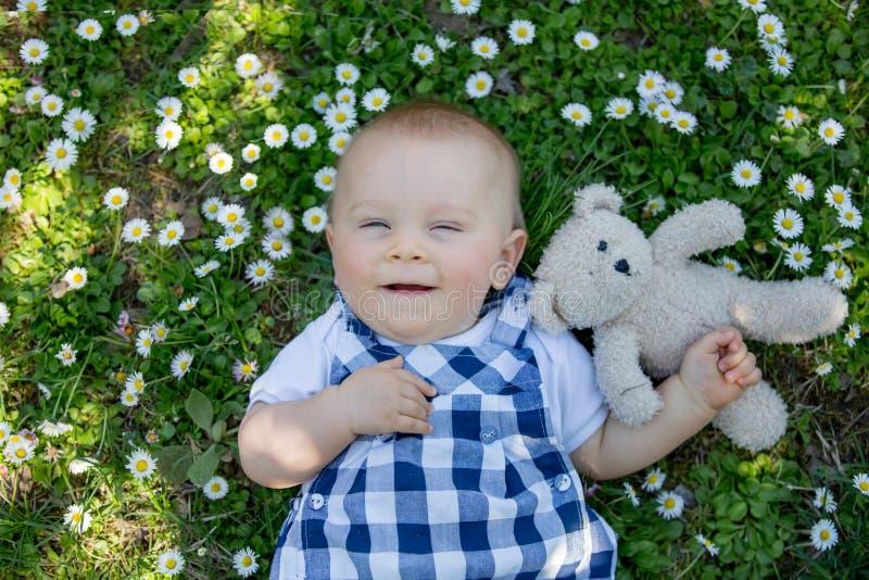 Gullig litet barnpojke med nallebjörnen som sitter på gräset, tusenskönor arkivfoton