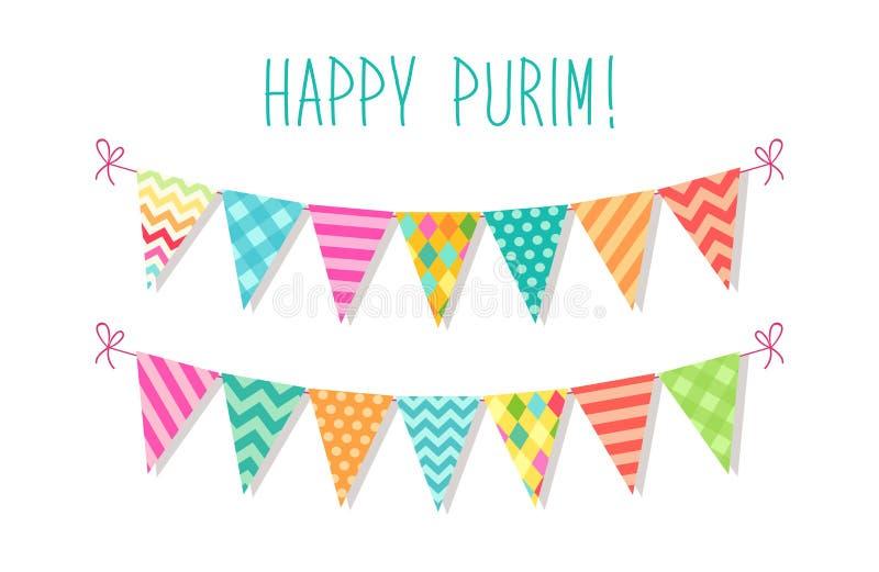 Gullig ljus och färgrik bunting sjunker för lycklig Purim judisk ferie royaltyfri illustrationer