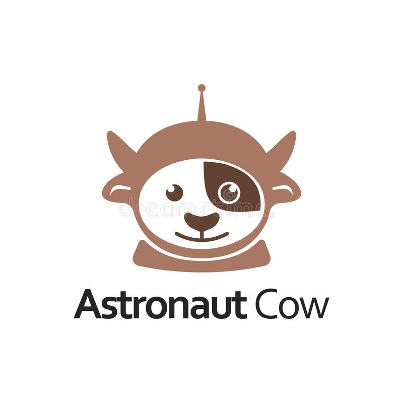 Gullig logo för astronautCow Mascot Character tecknad film stock illustrationer