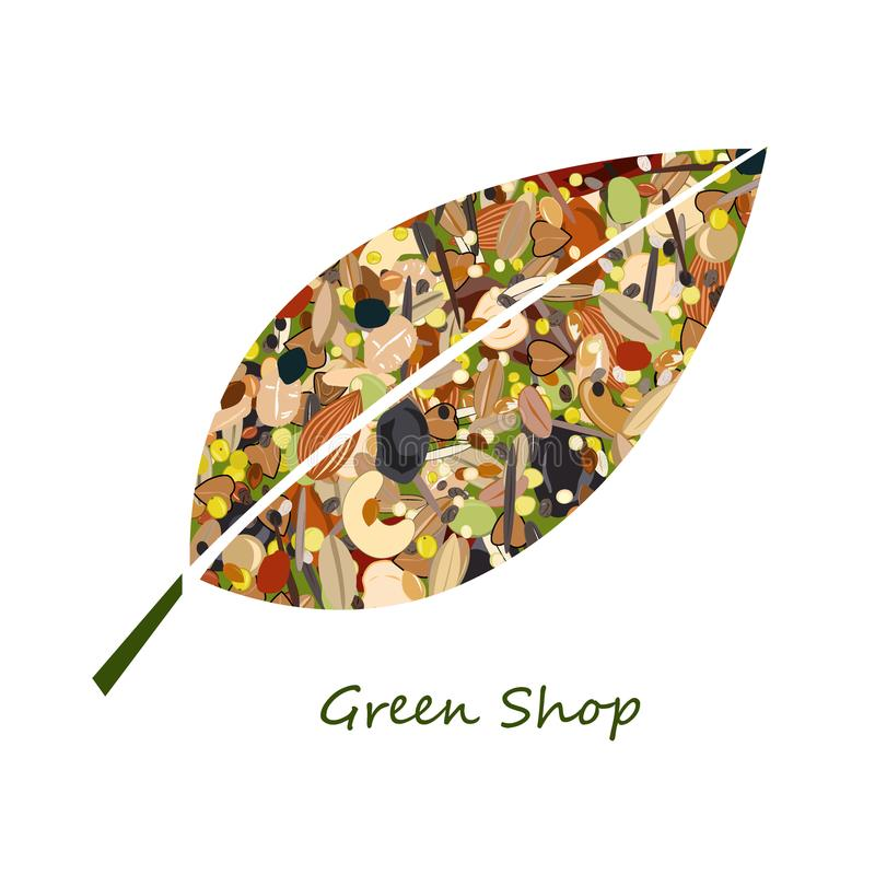 Gullig logo för bladform från muttrar, torkade fuits, korn och sädesslag Ovanlig design för ecolivsmedelsbutik eller grönt lager  stock illustrationer