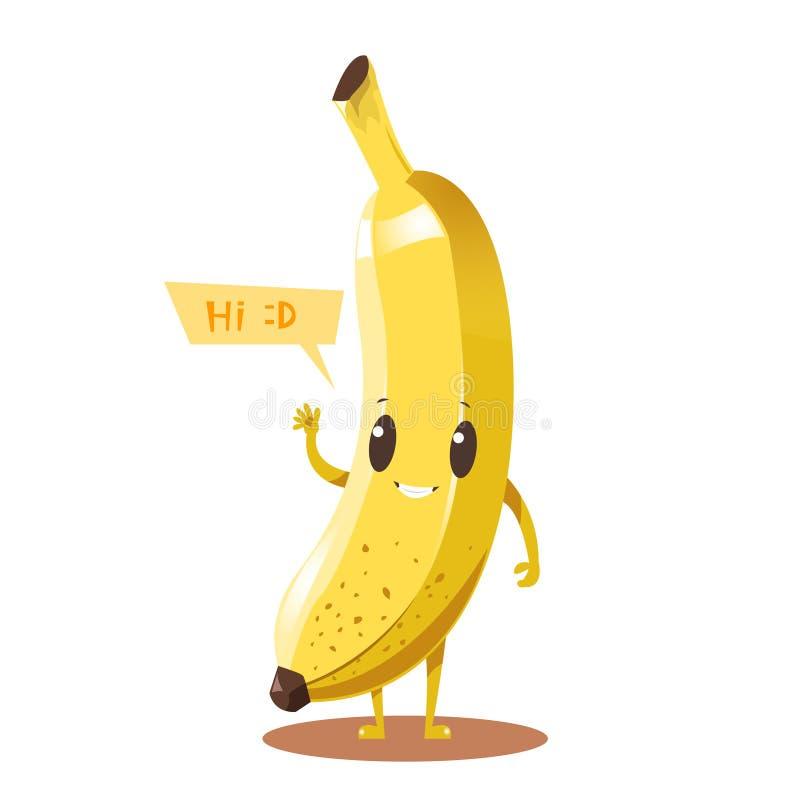 Gullig lycklig design för vektor för banantecknad filmtecken vektor illustrationer