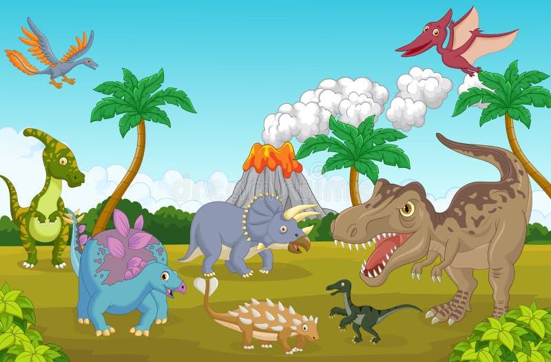 Gullig lycklig dinosaurietecknad film royaltyfri illustrationer