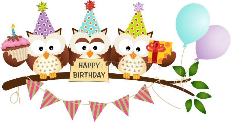 Gullig lycklig födelsedag för tre ugglor stock illustrationer