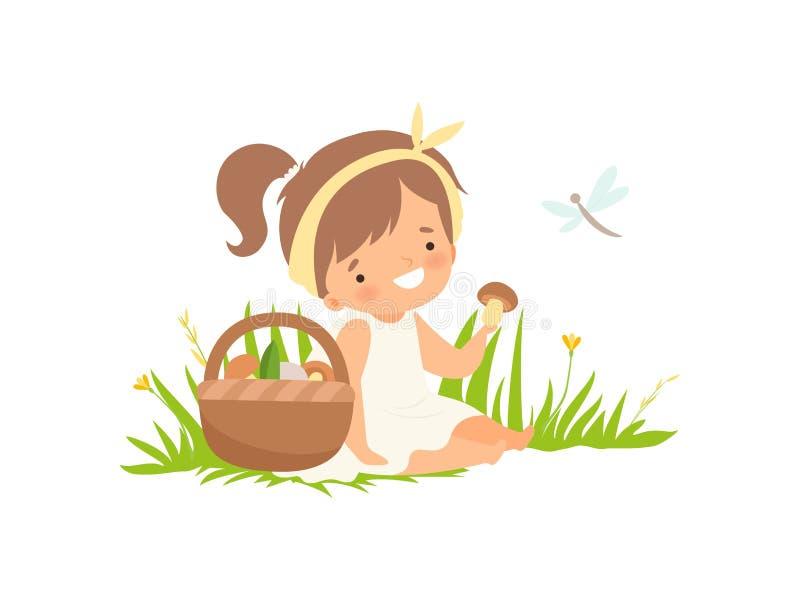 Gullig lycklig flicka som upp väljer champinjoner på den gröna ängen, förtjusande tecknad filmtecken för liten unge som spelar ut stock illustrationer