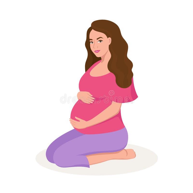 Gullig lycklig gravid kvinna som isoleras på den vita illustrationen för bakgrundsvektorlägenhet vektor illustrationer