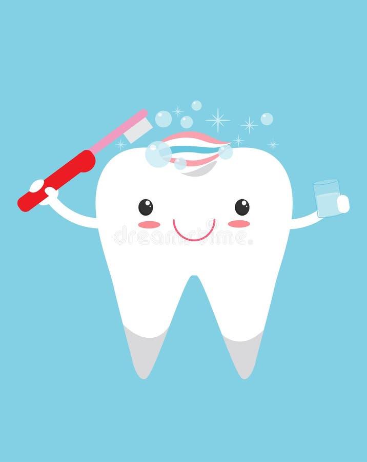 Gullig lycklig le tand med tandborste- och tandkrämfrisyren, gulligt sunt vitt tecknad filmtandtecken med tandkräm stock illustrationer