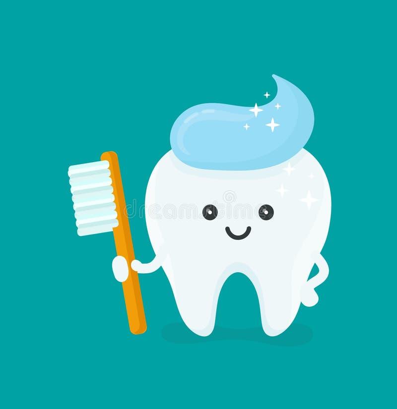 Gullig lycklig le tand med tandborsten vektor illustrationer