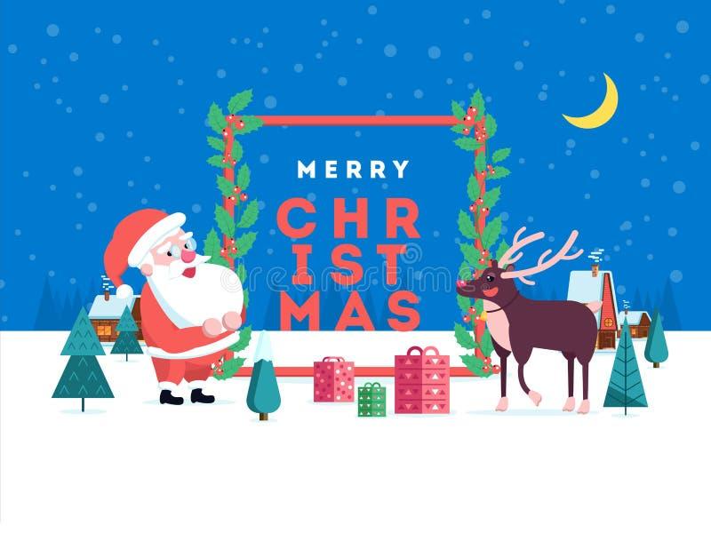 Gullig lycklig le tecknad film santa och ren på vinterlandscap royaltyfri illustrationer