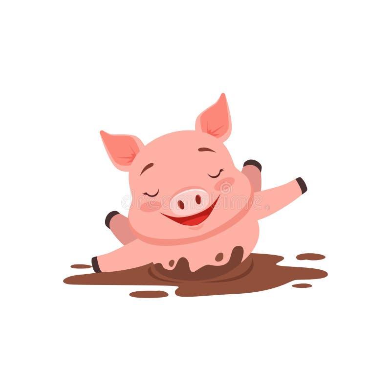 Gullig lycklig svinbadning i en smutsig pöl, djur vektorillustration för rolig tecknad film vektor illustrationer