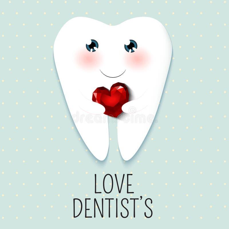 Gullig lycklig tandläkare Day för hälsningkort vektor illustrationer