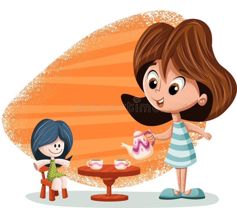 Gullig lycklig tecknad filmflicka som spelar med dockan stock illustrationer