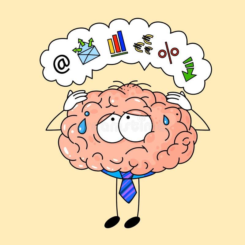 Gullig mänsklig hjärna i bandet som är trött på kontorsarbete royaltyfri illustrationer