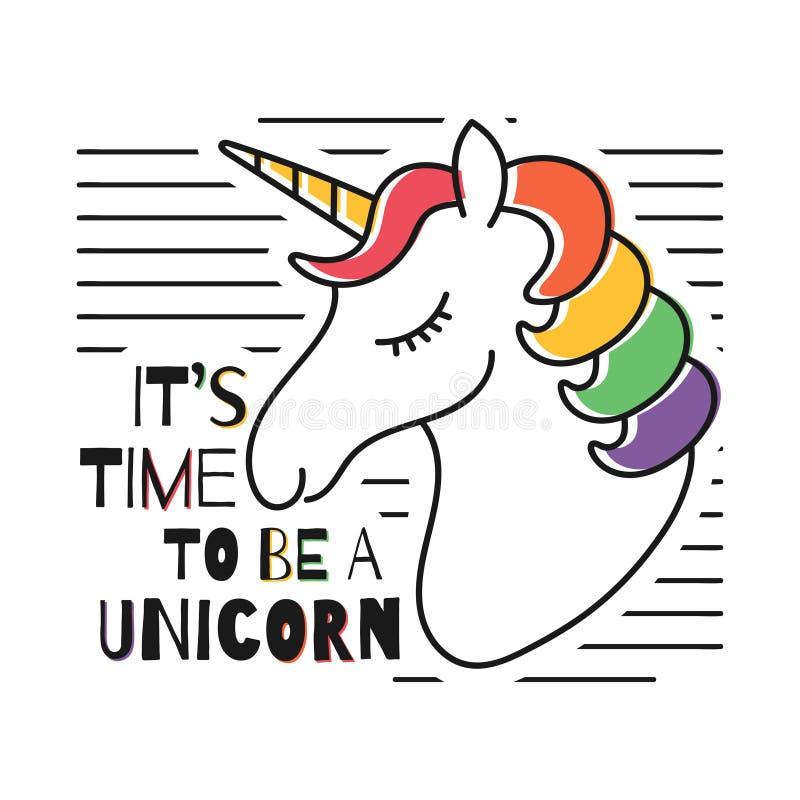 Gullig magisk enhörning för t-skjorta tryck Barnslig t-skjorta design med regnbågefärger stock illustrationer