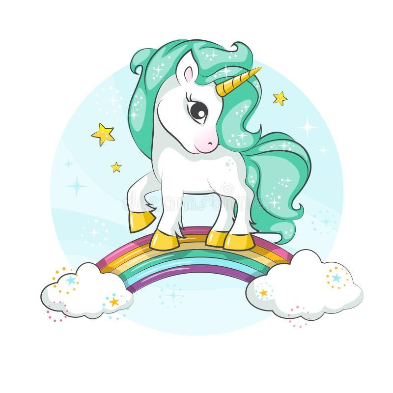 Gullig magisk enhörning liten ponny stock illustrationer