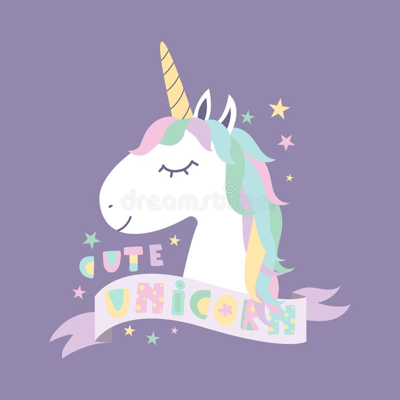 Gullig magisk enhörning planlägg ditt stock illustrationer