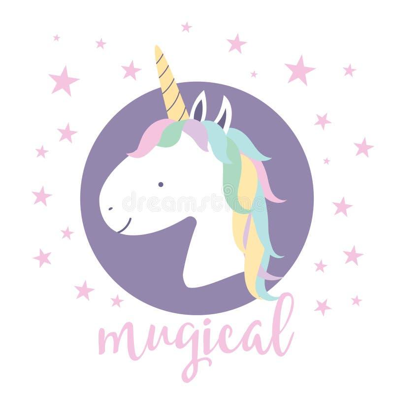 Gullig magisk enhörning planlägg ditt royaltyfri illustrationer