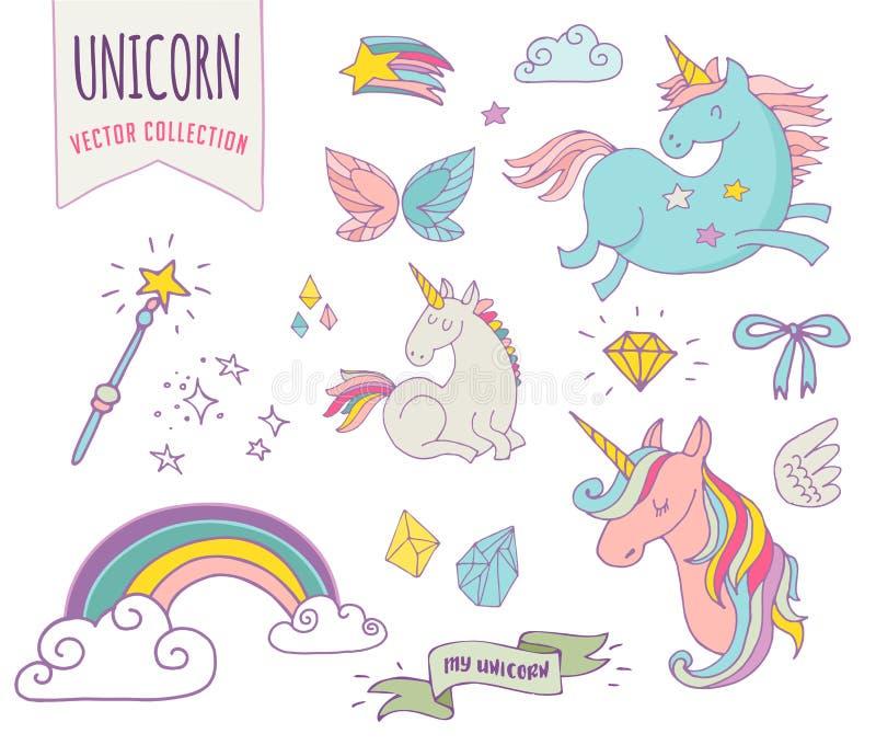 Gullig magisk samling med unicon, regnbåge, fe