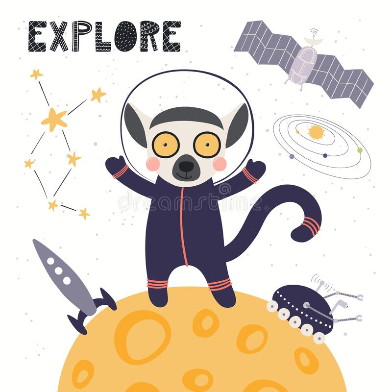 Gullig makiastronaut stock illustrationer
