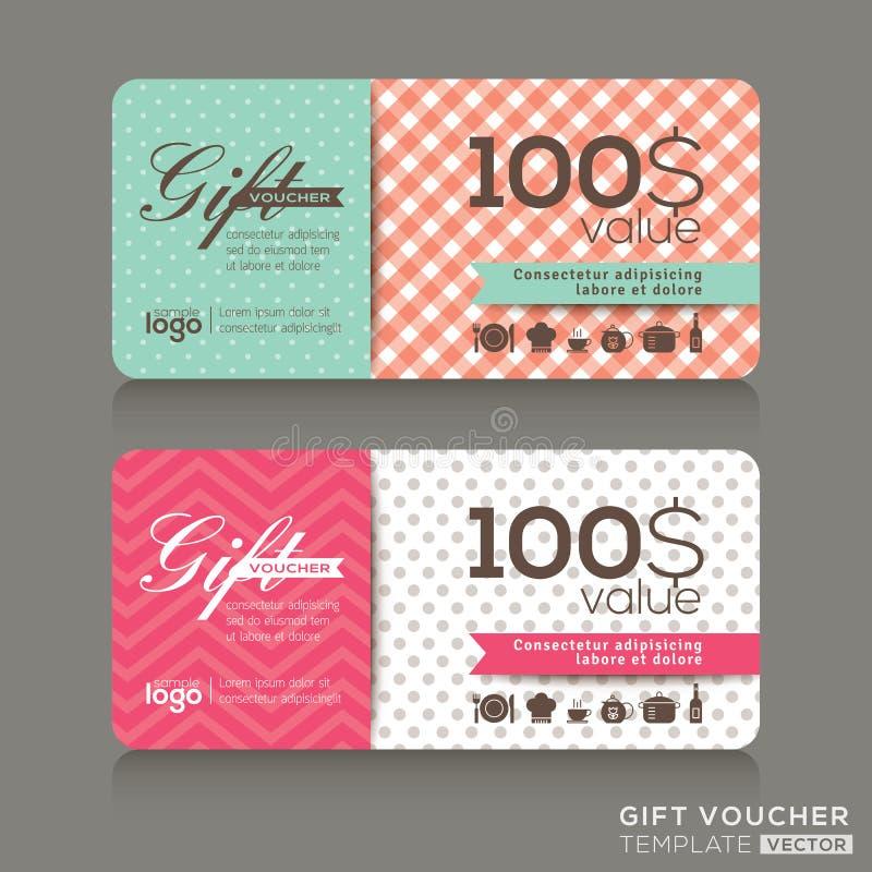 Gullig mall för design för presentkortcertifikatkupong stock illustrationer
