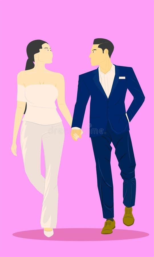 Gullig man och kvinnligt gift par rymma handen som tillsammans går Vektorillustration EPS10 royaltyfri illustrationer