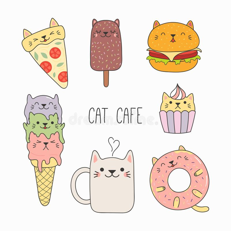 Gullig mat med kattöron stock illustrationer